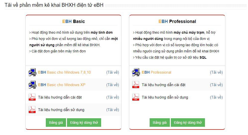 phần mềm bảo hiểm xã hội điện tử eBH của Thaisonsoft