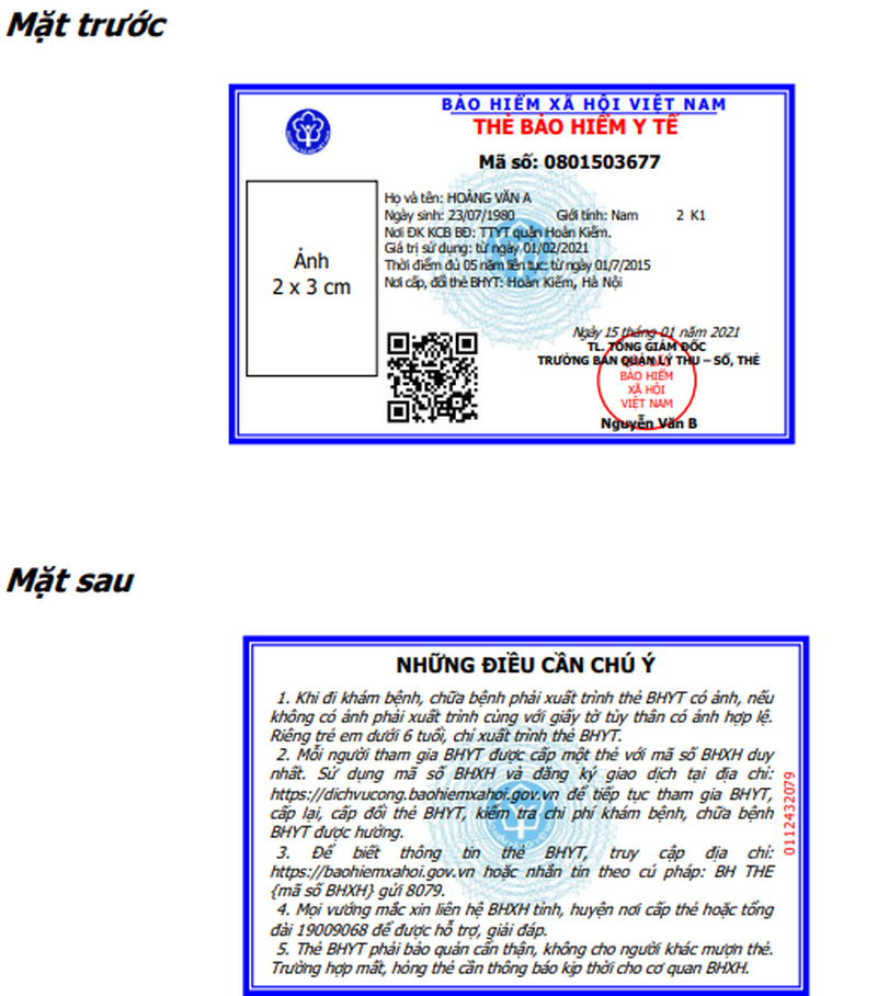 mã thẻ bảo hiểm y tế mới trên mẫu thẻ BHYT mới kể từ năm 2021